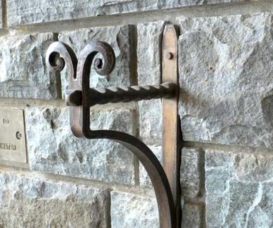 Blacksmith Custom Designed Garden Hose Holder Hand Forged Bronze