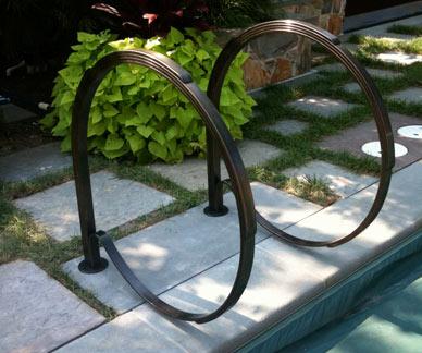 Blacksmith Custom Designed Pool Railing Hand Forged Steel