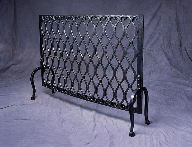 Blacksmith Custom Designed Fireplace Screen Hand Forged Steel