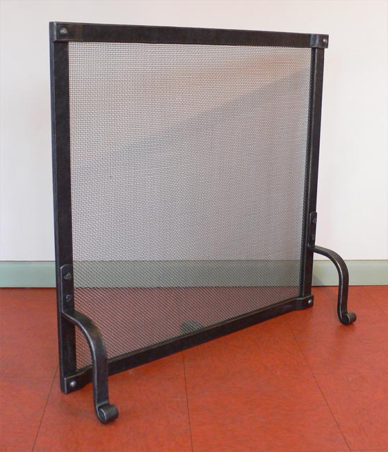 Blacksmith Custom Designed Fireplace Screen Hand Forged Steel And Brass