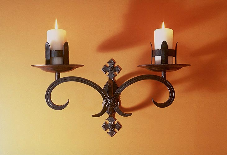 & Blacksmith : Custom Designed Wall Sconce : Hand Forged Steel