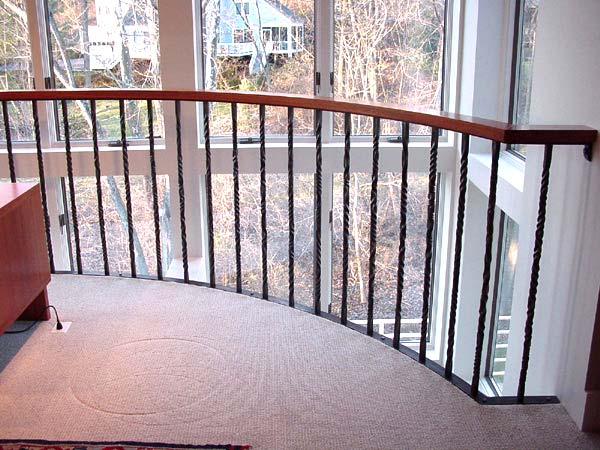 Blacksmith custom designed balcony railing hand forged for Inside balcony railing