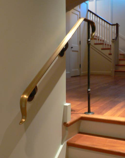 Blacksmith Custom Designed Stair Railing Hand Forged Steel And Bronze