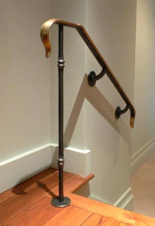 Blacksmith : Custom Designed Stair Railing : Hand Forged Steel And Bronze