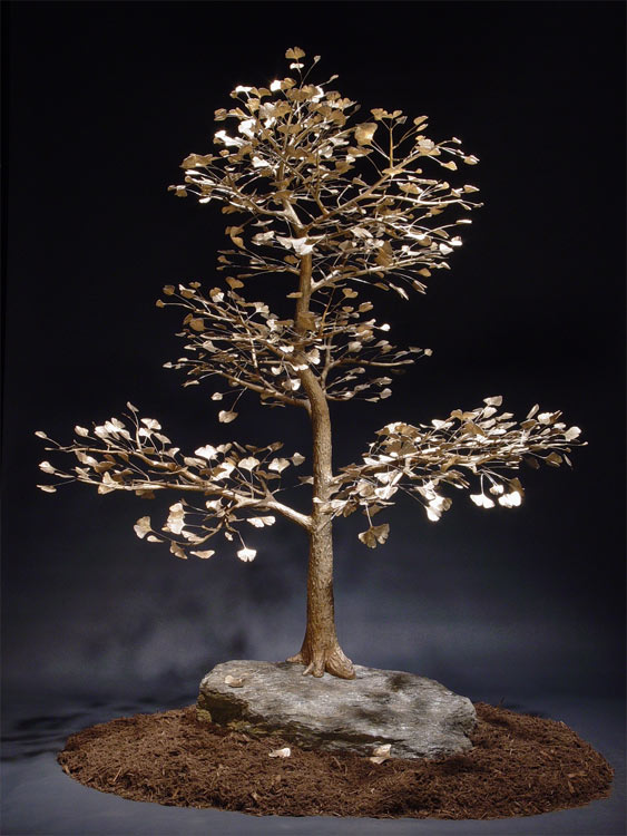 Sculptor Sculpted Ginkgo Bonsai Tree Forged And Cast